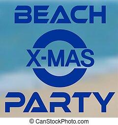 旗, 海岸, 浜, クリスマス・パーティ