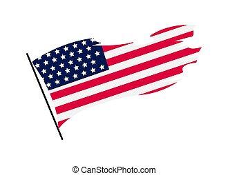 旗, 白, アメリカ人, america., ベクトル, 合併した, イラスト, 全国的なシンボル, 背景, 波状, flag., 州, 振ること, -