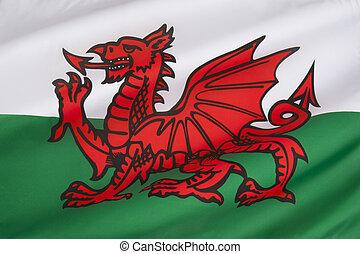 旗, ......的, 威爾士, -, 英國