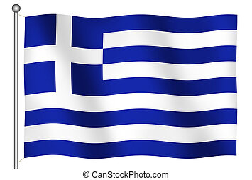 旗, ......的, 希臘, 招手