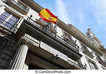 旗, ......的, 西班牙, 上, a, 政府大樓