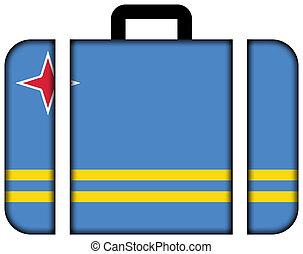 旗, ......的, aruba., 小提箱, 圖象, 旅行, 以及, 運輸, 概念