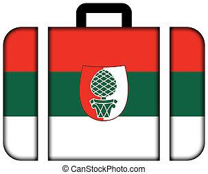旗, ......的, augsburg., 小提箱, 圖象, 旅行, 以及, 運輸, 概念