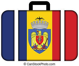 旗, ......的, bucharest., 小提箱, 圖象, 旅行, 以及, 運輸, 概念