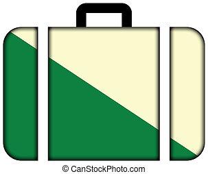 旗, ......的, huanuco, peru., 小提箱, 圖象, 旅行, 以及, 運輸, 概念