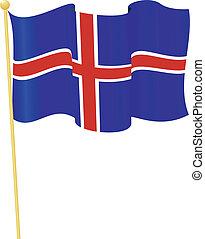 旗, ......的, iceland., 矢量