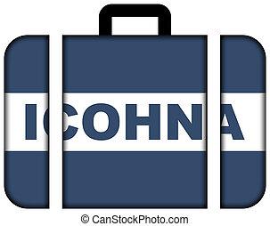 旗, ......的, iconha, brazil., 小提箱, 圖象, 旅行, 以及, 運輸, 概念
