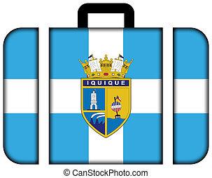 旗, ......的, iquique, chile., 小提箱, 圖象, 旅行, 以及, 運輸, 概念