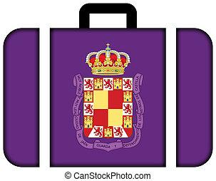 旗, ......的, jaen, spain., 小提箱, 圖象, 旅行, 以及, 運輸, 概念