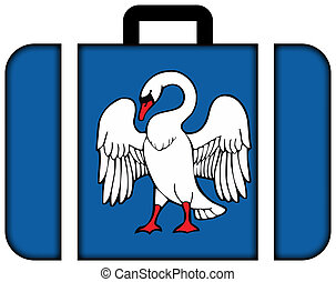 旗, ......的, jonava, lithuania., 小提箱, 圖象, 旅行, 以及, 運輸, 概念