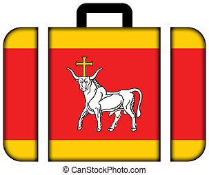 旗, ......的, kaunas, lithuania., 小提箱, 圖象, 旅行, 以及, 運輸, 概念