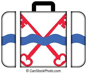 旗, ......的, leiderdorp, netherlands., 小提箱, 圖象, 旅行, 以及, 運輸, 概念
