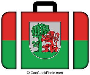 旗, ......的, liepaja, latvia., 小提箱, 圖象, 旅行, 以及, 運輸, 概念