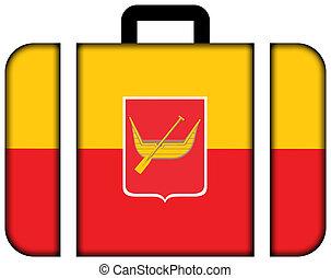 旗, ......的, lodz, poland., 小提箱, 圖象, 旅行, 以及, 運輸, 概念