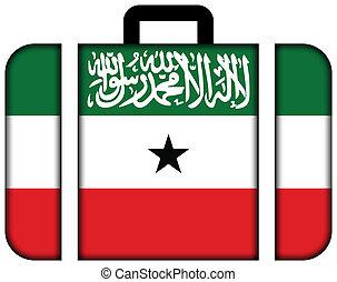 旗, ......的, somaliland., 小提箱, 圖象, 旅行, 以及, 運輸, 概念