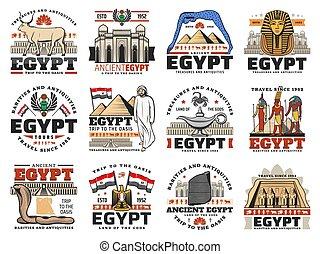 旗, 神, 古代エジプト, 地図, ピラミッド, アイコン