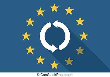 旗, 組合, リサイクルしなさい, 印, ヨーロッパ, 長い間, 影