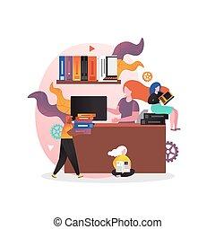旗, 網, ウェブサイト, ベクトル, ページ, 概念, 図書館