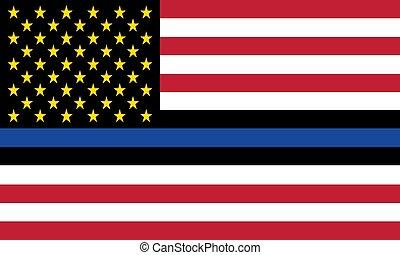 旗, 線, ベクトル, 州, 警察, 施行, 合併した, 名誉, 青法律, 役人