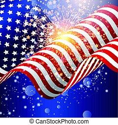 旗, 花火, アメリカ人, 背景, 1406