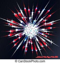 旗, 花火, 色, アメリカ人
