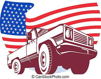 旗, 角度, ストライプ, 見られた, 星, 低い, ピックアップ, 隔離された, 白, アメリカ人, トラック