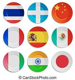 旗, 隔離された, プレート, セット, 白