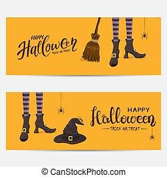 旗, 魔女, 足, オレンジ, ハロウィーン