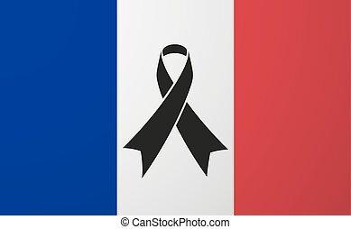 旗, 黒, リボン, フランス