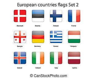 旗, 2, セット, ヨーロッパ, 国