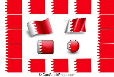 旗, bahrain., セット, アイコン