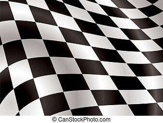 旗, bellow, checkered