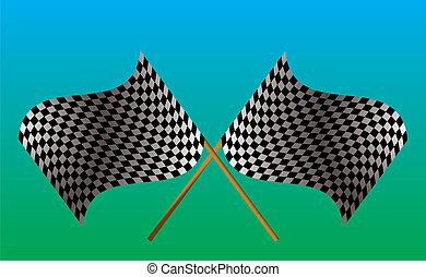 旗, checkered, 交差させる