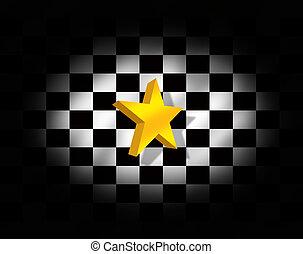 旗, checkered, 星, イラスト