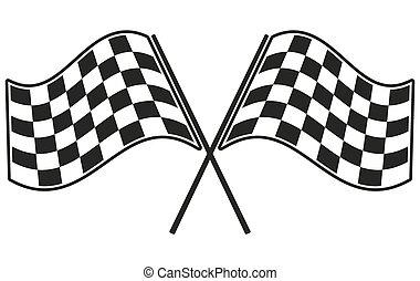 旗, checkered, 競争