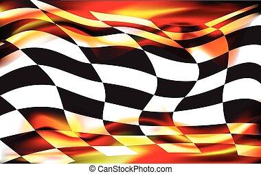 旗, checkered, 競争, wawing, 背景