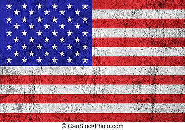 旗, grunge, 骯髒, 美國, (american)