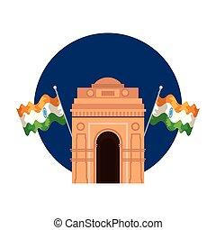 旗, indian, アーチ, 門, 記念碑