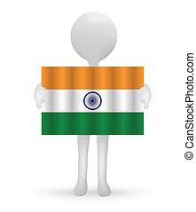 旗, indian, 保有物, 小さい, 3d, 人