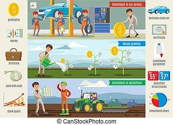 旗, infographic, 横, ビジネス, 投資