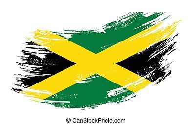 旗, jamaican, illustration., ベクトル, バックグラウンド。, グランジ, ブラシ