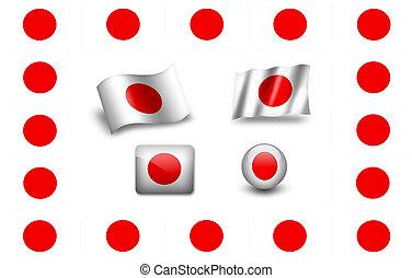 旗, japan., set., アイコン