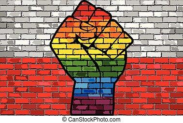 旗, lgbt, ポーランド, 握りこぶし, 抗議, 壁, れんが