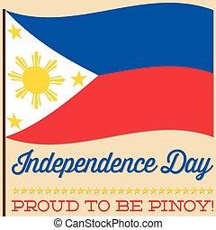 旗, philippine, 独立記念日, カード, 中に, ベクトル, format.