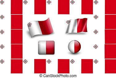 旗, set., アイコン, 旗, malta., フレーム
