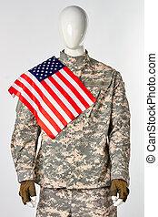旗, shoulder., アメリカ人, 彼の, 兵士