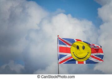 旗, smiley, イギリス, 黄色の額面