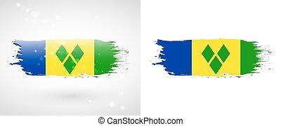 旗, vincent, 聖者, グレナダ諸島