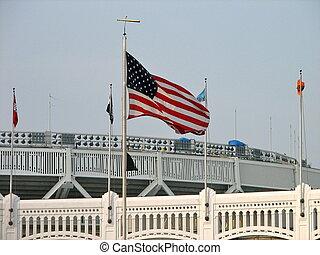 旗, yankee, 競技場, 古い, 上に飛ぶ