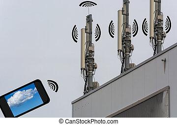 无线, 电讯, 概念, 家, 控制, 在以前, smartphone.